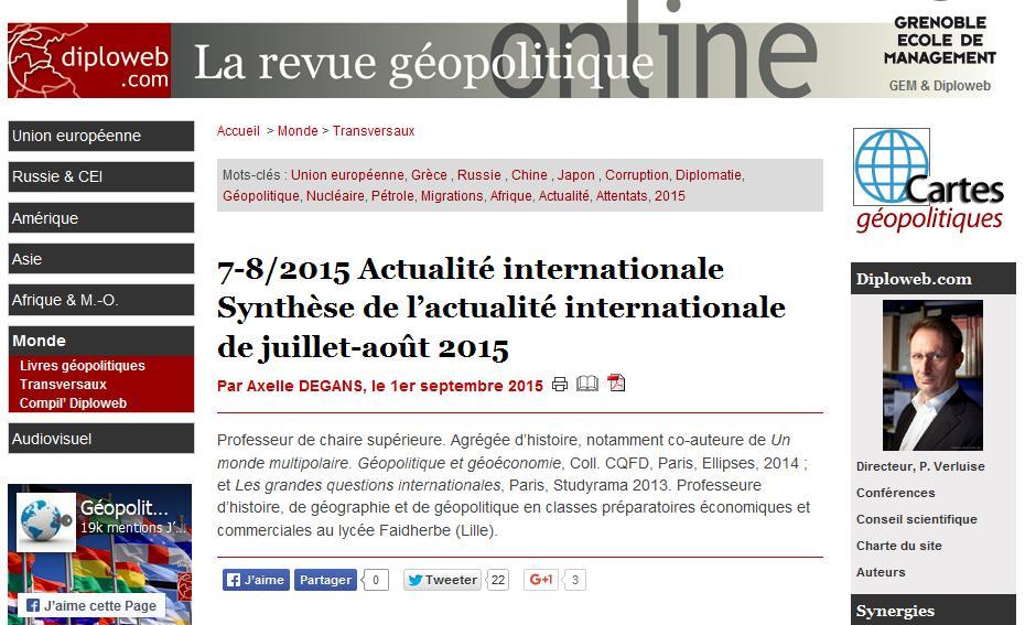Résumé de l'actualité internationale – Été 2015.