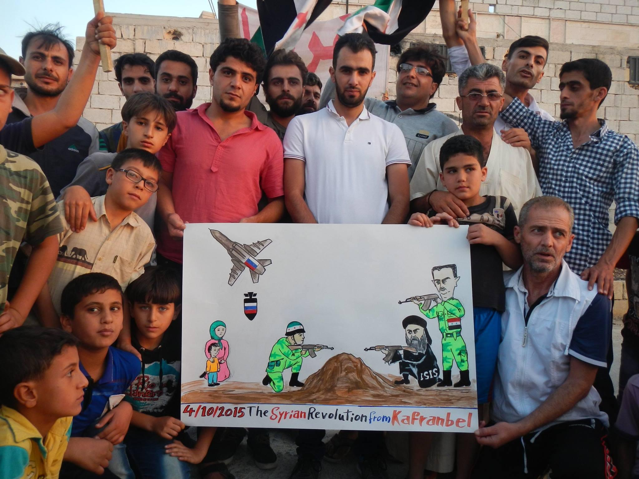 Bombardements russes à Kafranbel: des Soukhoi-34 contre des caricatures